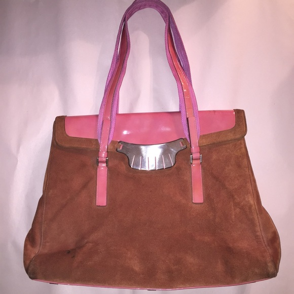 cb363acc6bff Prada Bags | Authentic Suede Patent Leather Laptop Tote | Poshmark